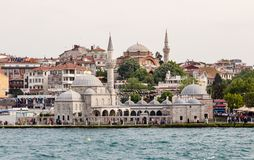 ISTANBUL, Turkey - May 24, 2015; Istanbul Old City Buildings with Bosphorus in Foreground royalty free stock photo