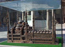 ISTANBUL, TURKEY - MAY 4, 2015: Photo of A miniature copy of the Sultanahmet Mosque. Stock Photo