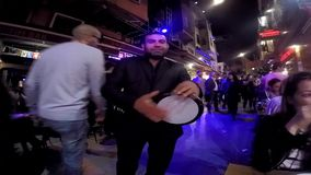 ISTANBUL, TURKEY- MAY 29 2015: A tabor musician performing at the famous Nevizade Street, center of nightlife of Taksim Beyoglu Is stock video