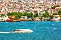 ISTANBUL, TURKEY - May 28th, 2017: View to esidential area across the Bay of Golden Horn. On a sunny day royalty free stock image