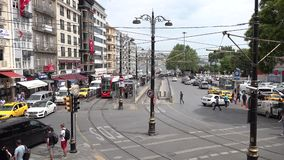 Timelapse video of Sirkeci District with tramway, car and human traffic in Istanbul, Turkey. Istanbul, Turkey - May 2018: Timelapse video of Ankara Street at stock footage