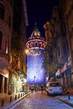 View of the Galata Tower at night royalty free stock photography