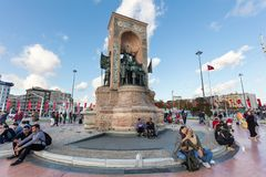 ISTANBUL, TURKEY. Monument of the Republic at Taksim Square. royalty free stock images