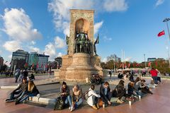ISTANBUL, TURKEY. Monument of the Republic at Taksim Square. stock photography
