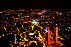 Istanbul, Turkey at night. Night panoramic view above the city. Royalty Free Stock Images