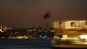 Istanbul Turkey Night Scene. Timelapse stock video footage