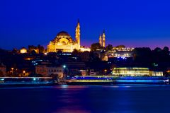 ISTANBUL, TURKEY - night view of the pier from the eastern shore of the bay Stock Photos