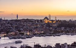 Istanbul, Turkey. 12-November-2018. Bosphorus river , boats and Sulemaniye mosque during sunset from Galata tower stock image