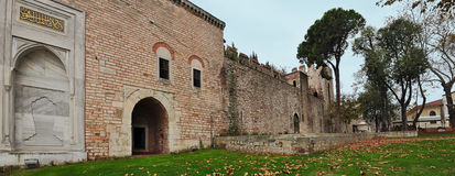 Istanbul, Turkey - November 22, 2014: The courtyard of Topkapi Palace, that was the primary residence of the Ottoman sultans  Royalty Free Stock Images