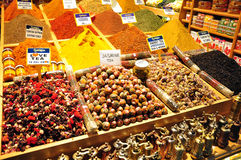 Istanbul, Turkey - November 22, 2014: Herb and spice shop. Street shop of herb, spices and Turkish sweets Stock Photo