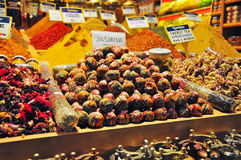 Istanbul, Turkey - November 22, 2014: Herb and spice shop. Street shop of herb, spices and Turkish sweets Royalty Free Stock Photography
