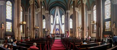 Interior of St. Antuan Catholic Church on Istiklal Avenue royalty free stock photos