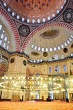 Istanbul, Turkey - November 23, 2014: Interior of the Suleymaniye Mosque. Wall painting of the mosque interior Royalty Free Stock Photos