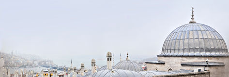 Istanbul, Turkey - November 23, 2014: Istanbul landscape. The view from the heights. Panorama of Istanbul in gentle tones Royalty Free Stock Photo