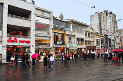 Istanbul, Turkey - November 23, 2014: Istiklal Street (İstiklal caddesi) - is a broad pedestrian area in Istanbul. It is stretching 1.5 kilometers from Taksim Royalty Free Stock Photography