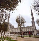Istanbul, Turkey - November 22, 2014: The Sultan Ahmed Mosque (popularly known as the Blue Mosque). Walkway leading to the Blue Mosque Royalty Free Stock Images