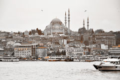 Istanbul, Turkey - November 23: A view of Sultan Ahmed Mosque from the side of the Bosphorus in monochrome on November 23, 2014. Art photography of Istanbul Royalty Free Stock Images