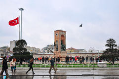 Istanbul, Turkey - November 23, 2014: View of the Taksim - Square in central Istanbul. In the center of the square is a 12 meter high monument Republic with Royalty Free Stock Photography