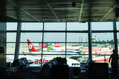 ISTANBUL, TURKEY - October, 2013: Airplanes at Istanbul Ataturk. Airport in Istanbul, Turkey. A view from Istanbul Ataturk airport. Atlasjet airline in the Royalty Free Stock Photos