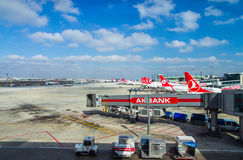 ISTANBUL, TURKEY - October, 2013: Airplanes at Istanbul Ataturk. Airport in Istanbul, Turkey. A view from Istanbul Ataturk airport. Baggage cart in the Royalty Free Stock Photography