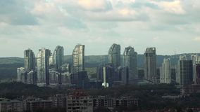 Buildings and Skyscrapers in Maslak, which a business oriented neighbourhood at business districts of Istanbul, Turkey stock footage