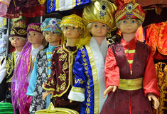 Istanbul, Turkey, October, 22, 2013. Children mannequins in Turkish national clothes at the Egyptian Bazaar in Istanbul Royalty Free Stock Image