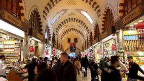 Crowded people inside Egyptian Spice Grand Bazaar of Eminonu district, the old city of istanbul stock video