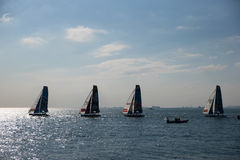 ISTANBUL, TURKEY - OCTOBER 03, 2015: Extreme 40 Stadium Racing . Extreme 40 Sailboats compete in Extreme Sailing Series Istanbul Stock Photos