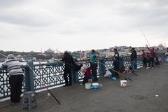 Galata bridge in Istanbul, Turkey Royalty Free Stock Photos