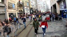 Hyperlapse video of people walking on Istiklal Street, Istanbul, Turkey stock video footage