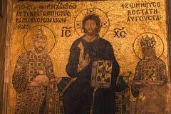 Mosaic in Hagia Sophia Cathedral interior, Istanbul stock photo