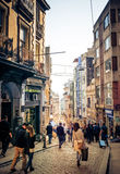 Istanbul. TURKEY - october 26, 2014: People are walking down the streets of Beyoglu in , Turkey royalty free stock photography