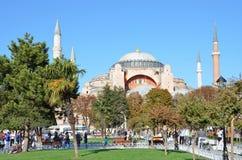 Istanbul, Turkey, October, 18, 2013. People walking near Aya Sofya Royalty Free Stock Photography