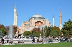 Istanbul, Turkey, October, 18, 2013. People walking near Aya Sofya Royalty Free Stock Image
