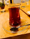Turkish tea on a table in one of Istanbul`s restaurants stock photo