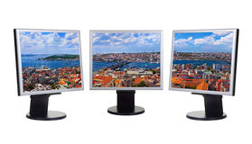 Istanbul Turkey panorama in computer screens Royalty Free Stock Photos