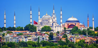 Istanbul, Turkey. Panoramic view of Istanbul with Blue Mosque and Hagia Sophia cathedral from Marmara Sea, Turkey Stock Photo