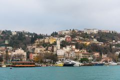 Istanbul, Turkey. A Panoramic view of Istanbul, Turkey. A view of the city from the Bosphorus. Bosphorus is a narrow, natural strait and an internationally stock image