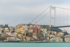 Istanbul, Turkey. A Panoramic view of Istanbul, Turkey. A view of the city from the Bosphorus. Bosphorus is a narrow, natural strait and an internationally royalty free stock photography