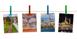 Istanbul Turkey photography on clothespins Stock Images