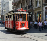 Istanbul Turkey Red Trolley Royalty Free Stock Photo