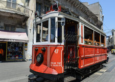 Istanbul Turkey Red Trolley Royalty Free Stock Image