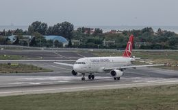 Passenger airplane at Istanbul Airport IST. Istanbul, Turkey - Sep 30, 2018. An Airbus A330-300 airplane of Turkish Airlines on runway of Istanbul Ataturk stock photography