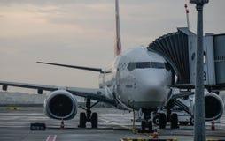 Passenger airplane at Istanbul Airport SAW