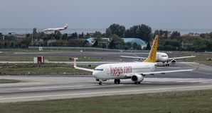 Passenger airplane at Istanbul Airport IST. Istanbul, Turkey - Sep 30, 2018. A Boeing 737-800ER airplane of Pegasus Airlines on runway of Istanbul Ataturk royalty free stock photo