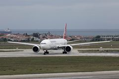 Passenger airplane at Istanbul Airport IST. Istanbul, Turkey - Sep 30, 2018. A passenger airplane of Turkish Airlines on runway of Istanbul Ataturk Airport IST royalty free stock photo