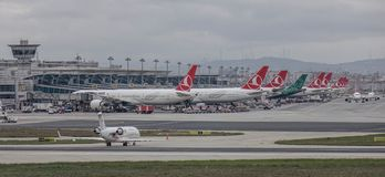 Passenger airplane at Istanbul Airport IST. Istanbul, Turkey - Sep 30, 2018. Passenger airplanes on runway of Istanbul Ataturk Airport IST. Ataturk is the 11th stock image