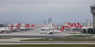 Passenger airplane at Istanbul Airport IST. Istanbul, Turkey - Sep 30, 2018. Passenger airplanes on runway of Istanbul Ataturk Airport IST. Ataturk is the 11th stock photos