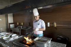 ISTANBUL TURKEY SEPT 28 2014 Chef in restaurant Royalty Free Stock Photos
