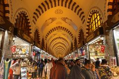 Istanbul, Turkey, September 22., 2018: Beginning of the Egyptian bazaar in Istanbul. royalty free stock photos